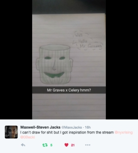 Some weird stuff happened during our 2016 Winter Livestream - not least the shipping of Mr. Graves and Jason Isaacs Celery. Thanks Maxwell-Steven Jacks.