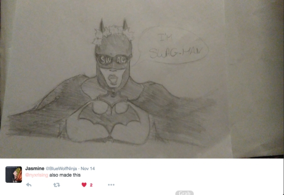 Swagman first appeared in our 2016 May MCM London Comic-con vlog, played by IncognetoCosplay. Thanks for the artwork Jasmine!